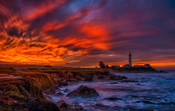 Picture sea, the sky, clouds, sunset, nature, lighthouse