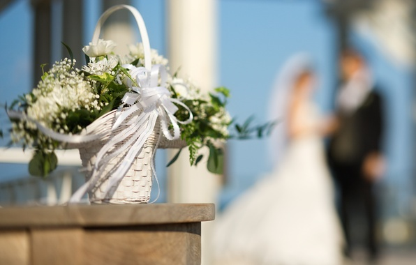 Picture flowers, basket, bouquet, tape, the bride, wedding, bokeh, the groom