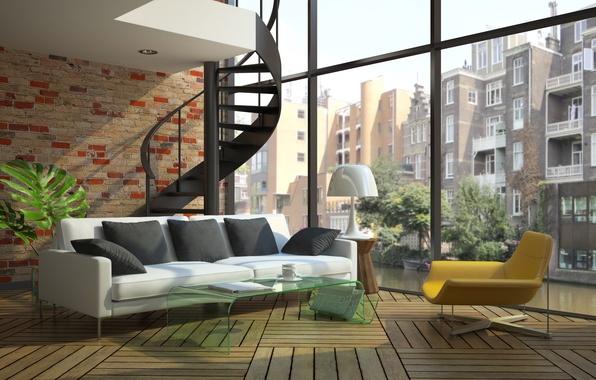 Picture windows, sofa, stairs, modern loft