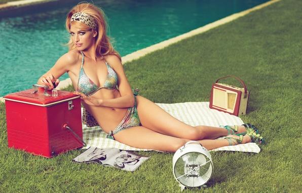 Picture Bikini, Vintage, Retro, Look, Ginger, Fan, Radio, Magazine, Nails, Towel