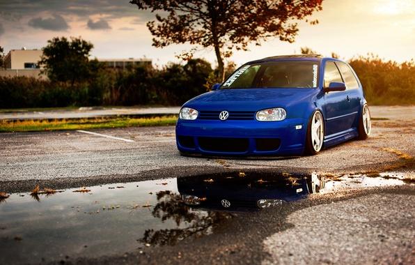 Picture blue, volkswagen, Golf, golf, blue, Volkswagen, gti, low, stance, MK4