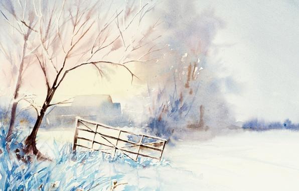 Picture winter, landscape, picture, watercolor