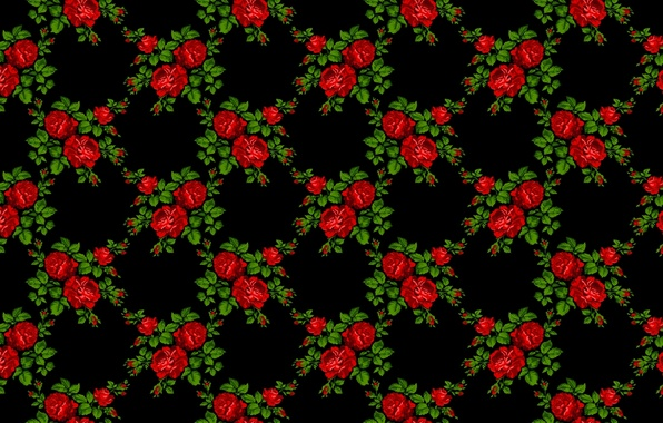 Photo wallpaper flowers, pattern, roses