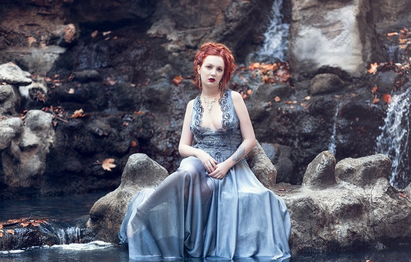Picture chest, leaves, water, reflection, rocks, woman, hair, dress, lips, cascade, necklace, direct look