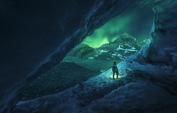 Picture Light, Frozen, Canada, Blue, Winter, Night, Snow, Travel, Cave, Door, Athabasca