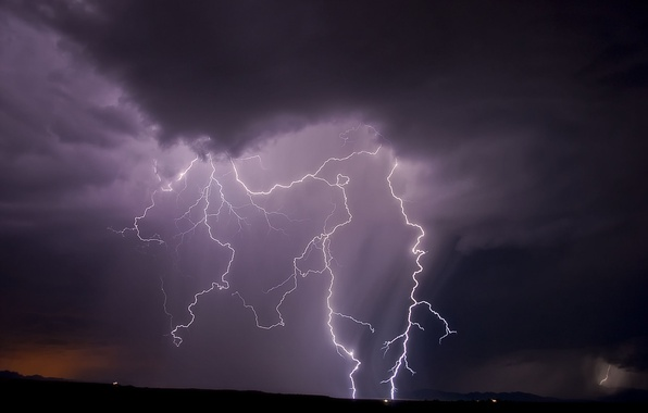 Picture the sky, night, nature, lightning
