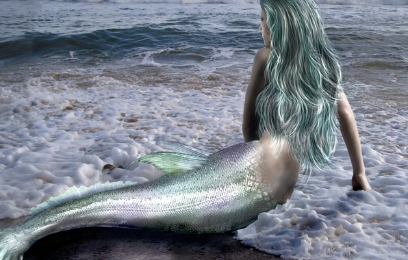 Picture sea, wave, girl, fiction, hair, back, mermaid, hands, tail