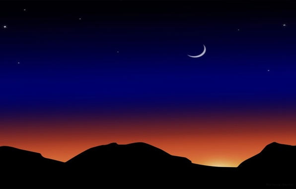 Picture stars, mountains, night, the moon, vector, a month, silhouette, glow