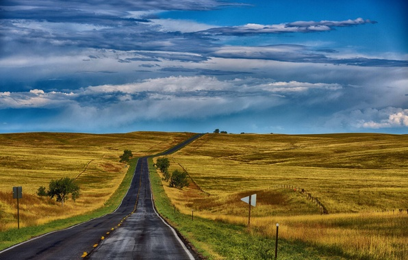 Picture road, field, autumn, the sky, grass, hills, space, USA, Ne