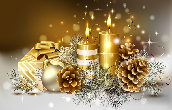 Picture winter, color, tape, gold, box, sweetheart, the ball, beauty, colors, candles, Christmas, gifts, golden, gold, ...