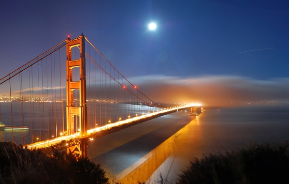 Picture sea, water, light, night, lights, city, the ocean, the moon, view, a month, Golden gate, …