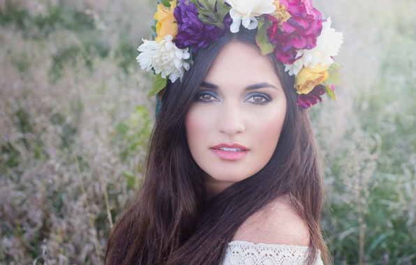 Picture look, flowers, face, hair, wreath