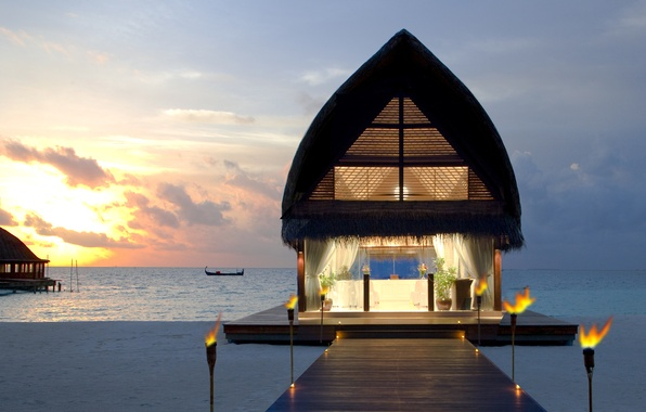 Picture sea, beach, the sky, Islands, sunset, boat, The Maldives, Bungalow