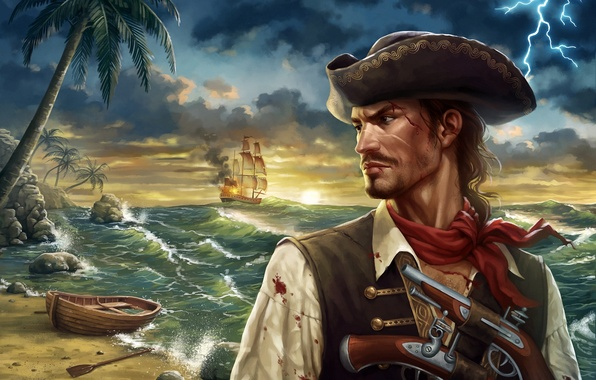 Picture sea, wave, palm trees, lightning, blood, ship, art, pirate, profile, shawl, vest, boat, cocked hat, …