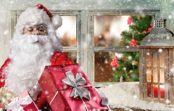 Picture gift, window, lantern, Santa Claus