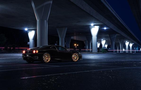 Picture Ferrari, 360, Bridge, Black, Modena, Collection, Aristo, Rear, Nigth