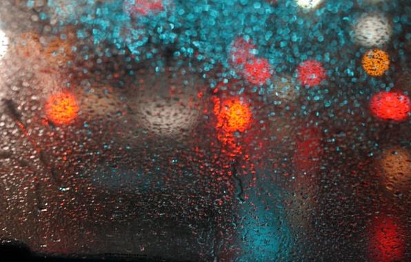 Picture glass, drops, macro, glare, rain