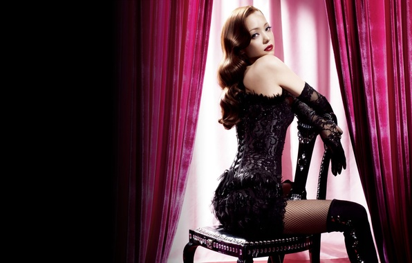 Picture look, girl, light, chair, corset, beauty, curtains