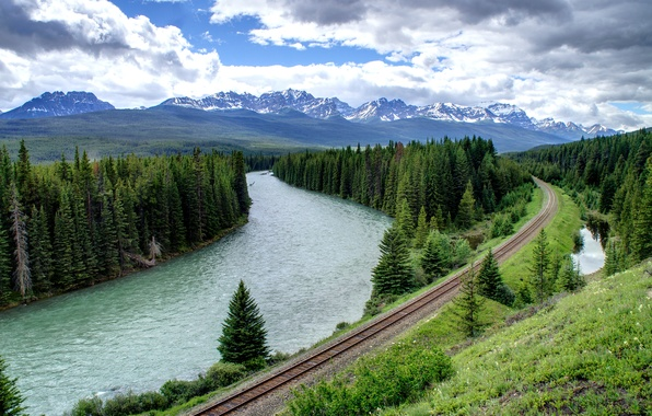 Picture road, forest, the sky, clouds, trees, mountains, nature, river, rails, spruce