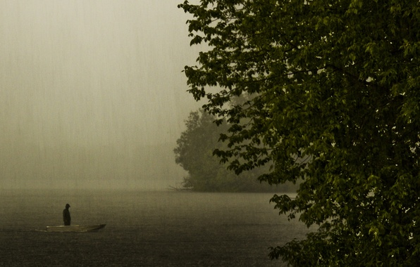 Picture lake, rain, mood, boat, the evening