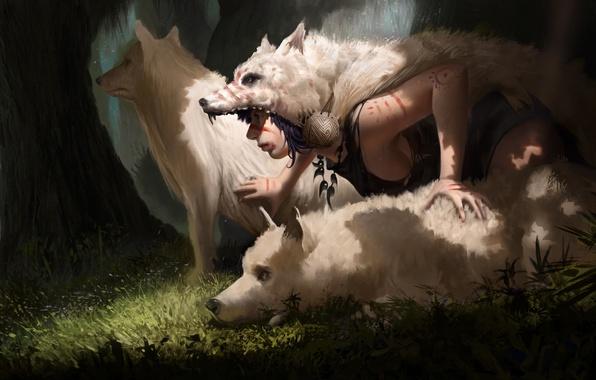 Picture anime, wolf, mononoke, Princess Mononoke