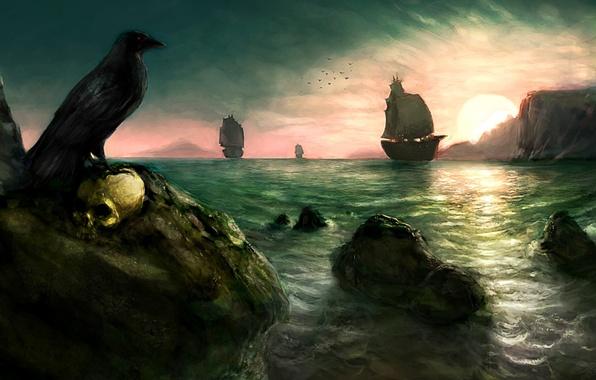 Picture sea, the sun, rocks, bird, figure, skull, sailboat, ships, Raven