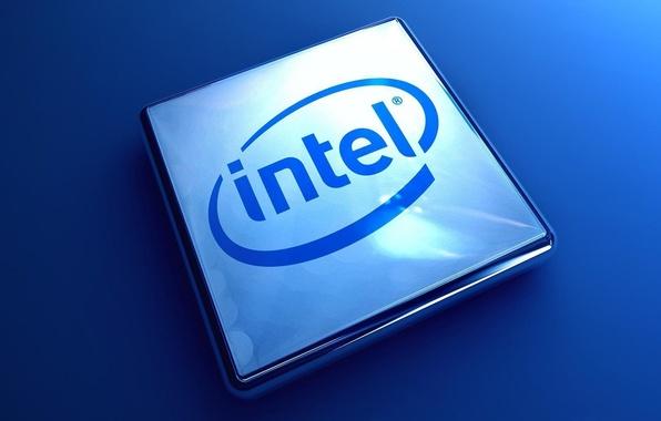 Picture blue, logo, intel