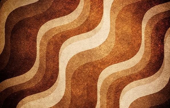 Picture wave, line, strip, texture, brown, beige