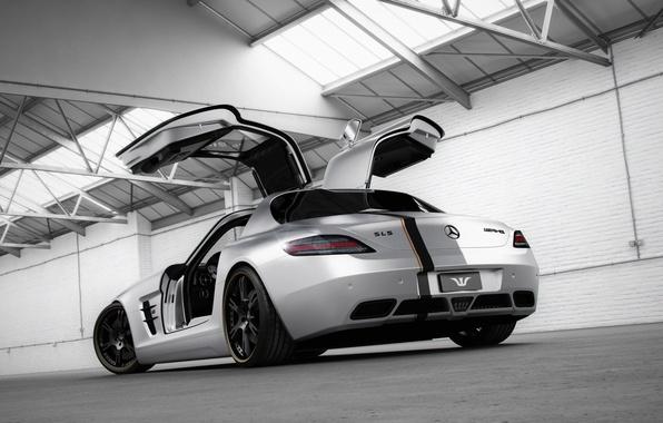 Picture tuning, Mercedes-Benz, door, silver, hangar, supercar, Mercedes, rear view, AMG, SLS, tuning, Wheelsandmore, AMG, SLS, …