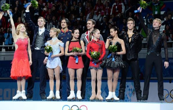 Picture gold, victory, Russia, pedestal, Ksenia Stolbova, Maxim Trankov, Dmitry Solovyov, Nikita Katsalapov, Tatiana Volosozhar, Ekaterina …