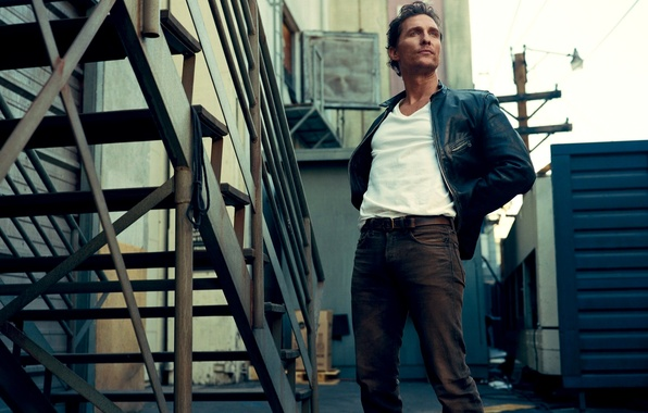 Picture look, street, ladder, actor, male, Matthew McConaughey, Matthew McConaughey