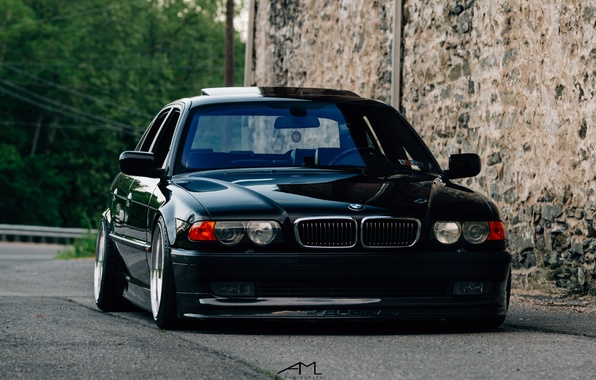 Photo wallpaper BMW, stance, E38