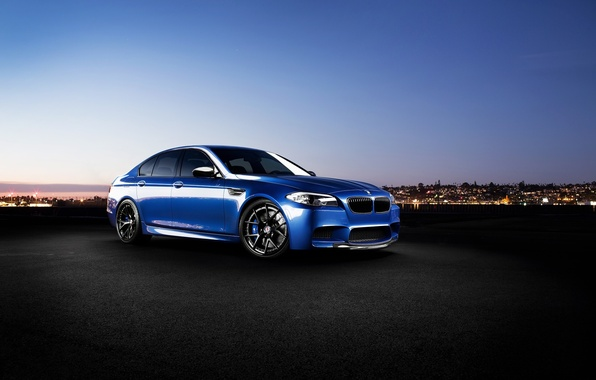 Picture blue, the city, lights, BMW, BMW, f10, monte carlo blue