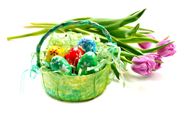 Picture flowers, eggs, Easter, tulips, pink, basket