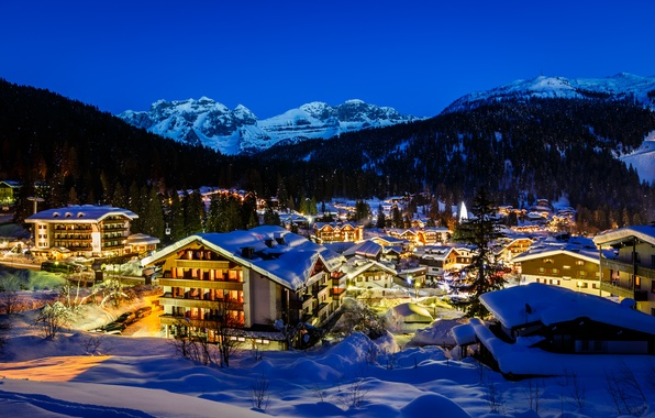 Picture winter, snow, trees, mountains, night, the city, lights, building, tree, home, Alps, Italy, tree, Italy, …