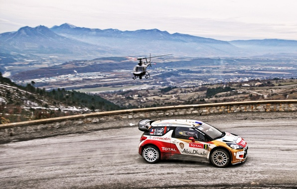 Picture Road, Sport, Machine, Helicopter, Citroen, Citroen, DS3, WRC, Rally, Rally, Sebastien Loeb