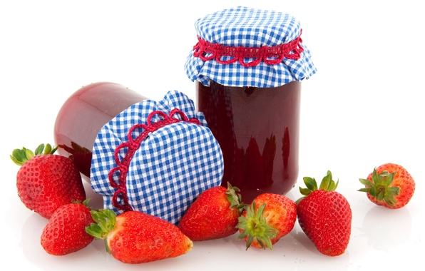 Picture leaves, red, white, blue, food, cell, strawberry, white background, leaf, leaves, jam, sweet, napkin, jam, …