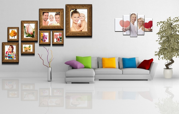 Picture sofa, plant, Room, pictures, the wall, polyptych, pot