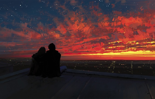 Picture roof, the sky, girl, sunset, the city, romance, art, pair, guy