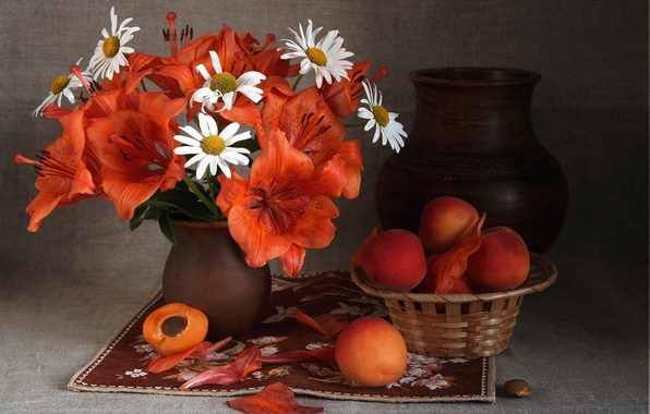 Picture summer, Lily, chamomile, bouquet, fruit, pitcher, fruit, still life, apricots