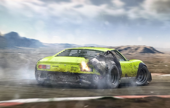 Picture Lamborghini, Green, Miura, Tuning, Future, Rear, Drifting, by Khyzyl Saleem