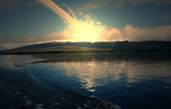 Picture the sun, lake, sunrise
