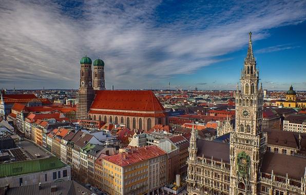 Picture building, Germany, Munich, Bayern, panorama, Cathedral, Germany, Munich, Bavaria, Frauenkirche, Frauenkirche, Marienplatz, New town hall, …
