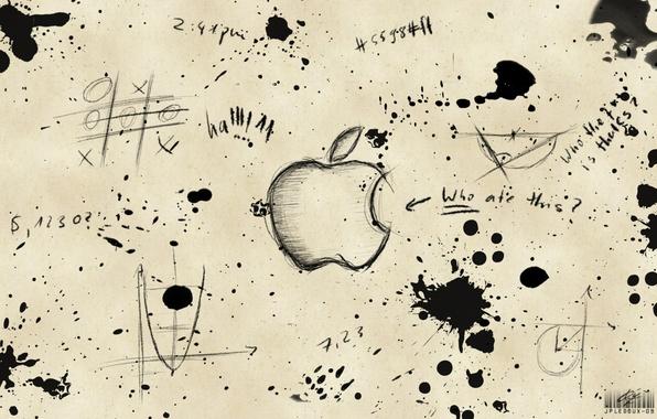 Picture labels, apple, blots, drawings