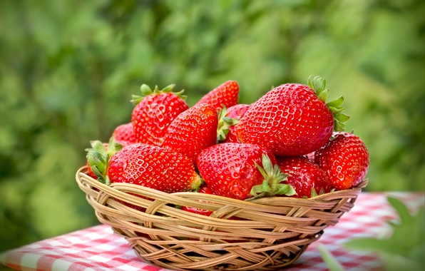 Picture berries, strawberry, red, basket, fresh, ripe, strawberry, berries