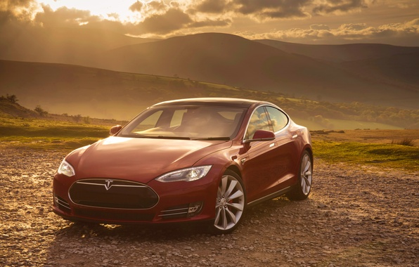 Picture red, Tesla, Model S, P85