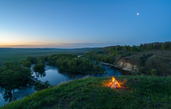 Picture forest, river, open, panorama, the fire