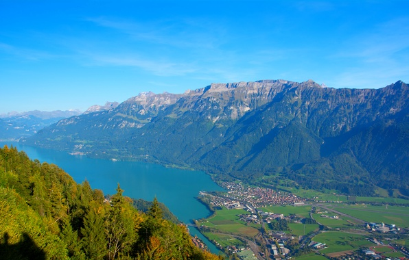 Picture mountains, lake, Switzerland, panorama, town, the view from the top, Unterseen