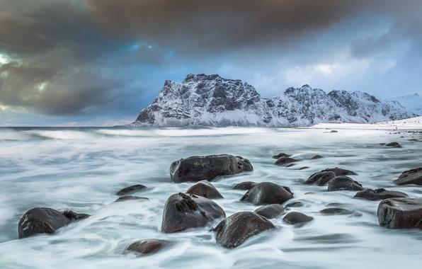 Picture sea, mountains, stones, coast, Norway, Norway, Lofoten, The Norwegian sea, Lofoten, Norwegian Sea, Vestvågøy, Utakleiv …