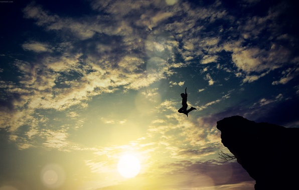 Picture the sky, clouds, rock, jump, people